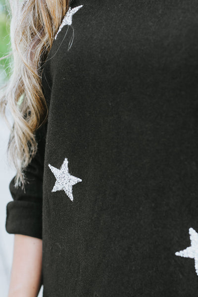 Crushed Scatter Star Rolled Sleeve Sweater