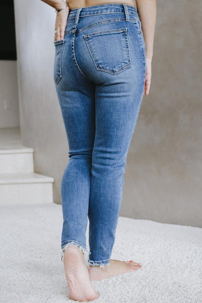 High Rise Distressed Ankles Skinny Jean-Glitz & Ears Boutique