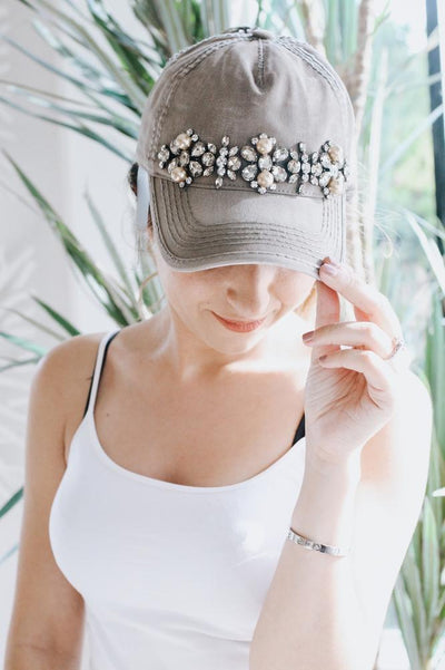 Pearl & Different Stones Across Baseball Hat-Glitz & Ears Boutique