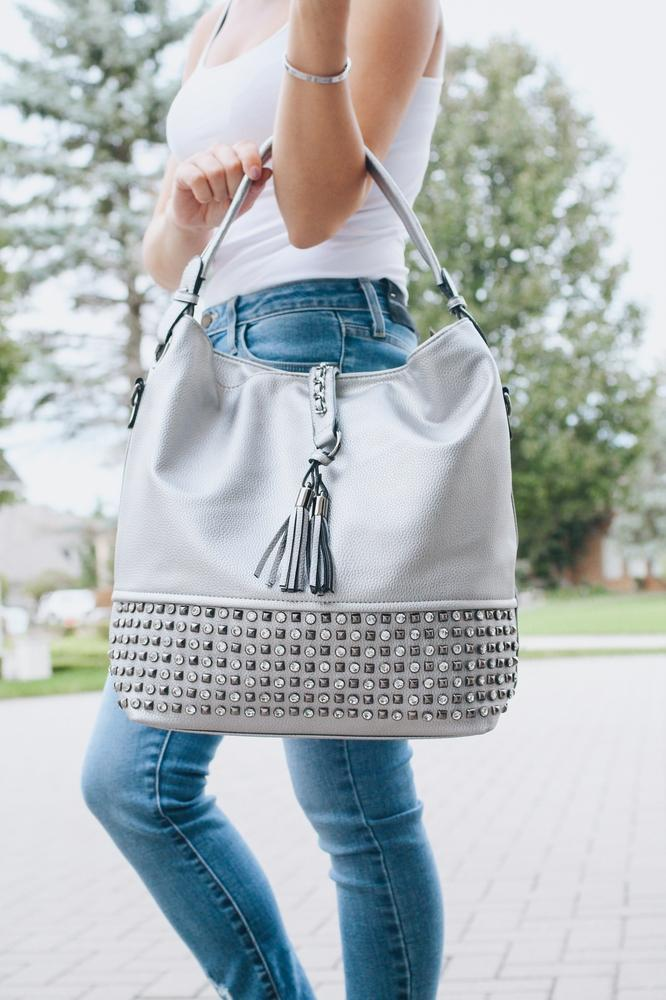 Stud & Stone Bottom Slouchy Purse