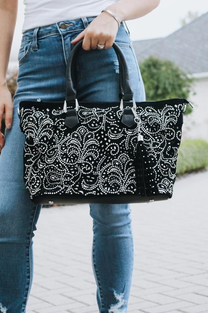 Lace Cutout Rhinestone Purse