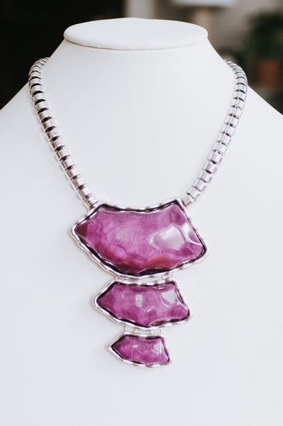 3 Marbled Stone Necklace