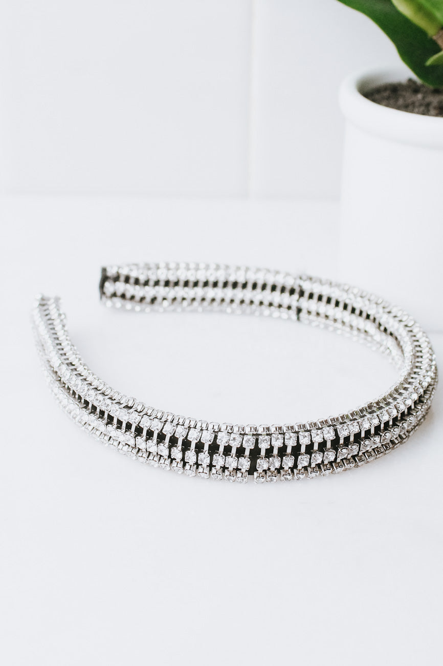 Thick 3D Rhinestone Row Headband