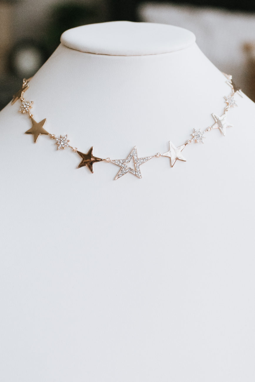 Metal & Rhinestone Star Necklace