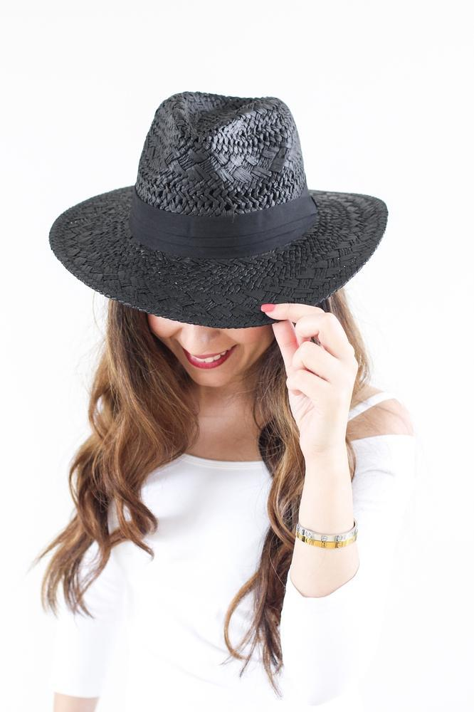 Straw Panama Hat with Black Band