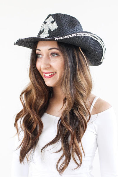 Sequin Cross Cowboy Hat-Glitz & Ears Boutique