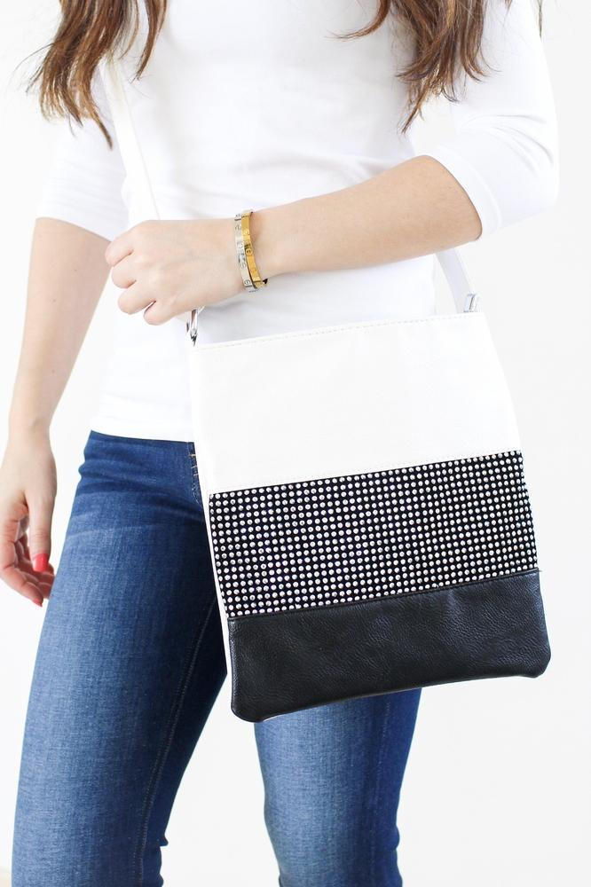 Rhinestone Middle Colorblock Messenger
