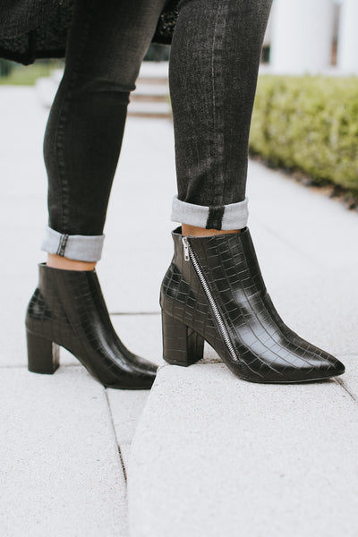 Crocodile Angled Zipper Pointed Bootie