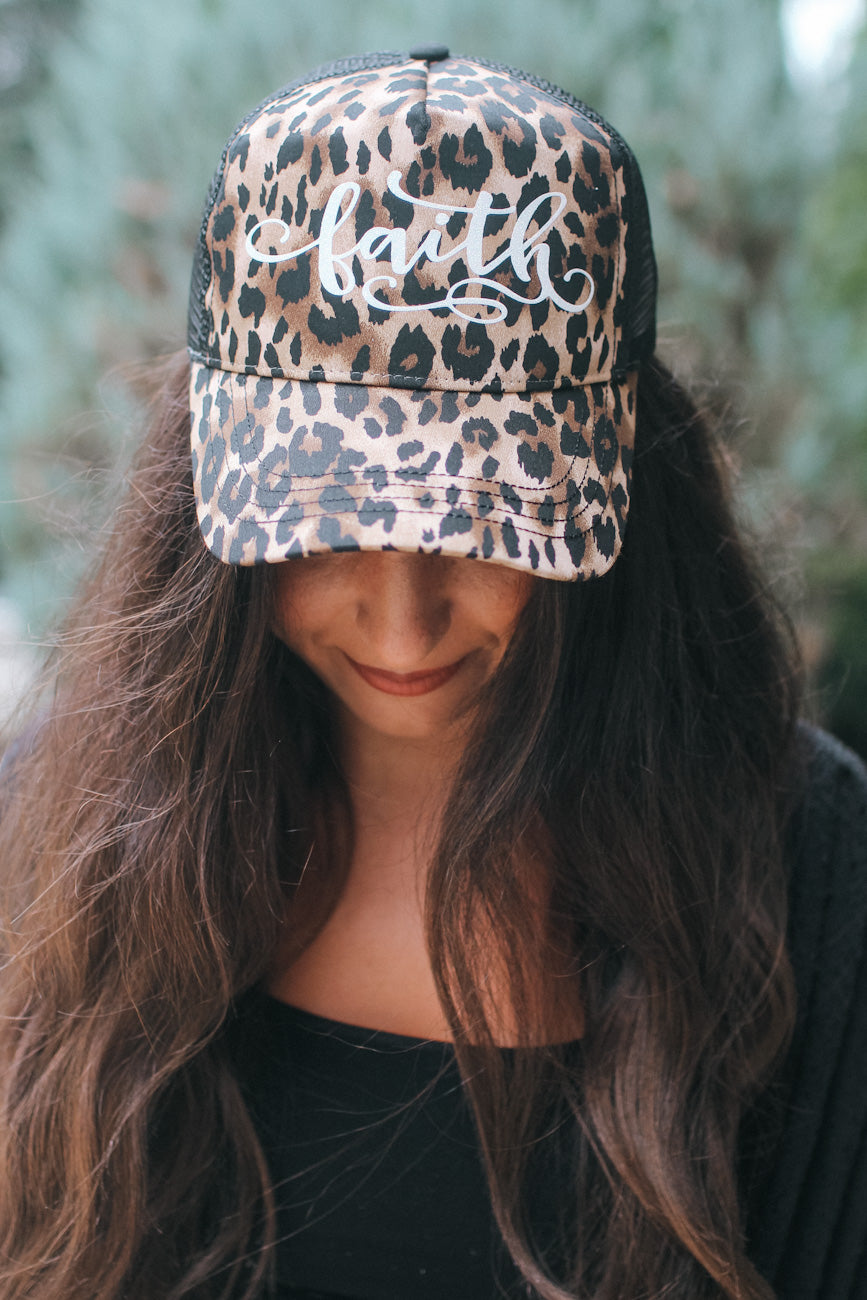 Leopard Sparkle Faith Trucker Hat