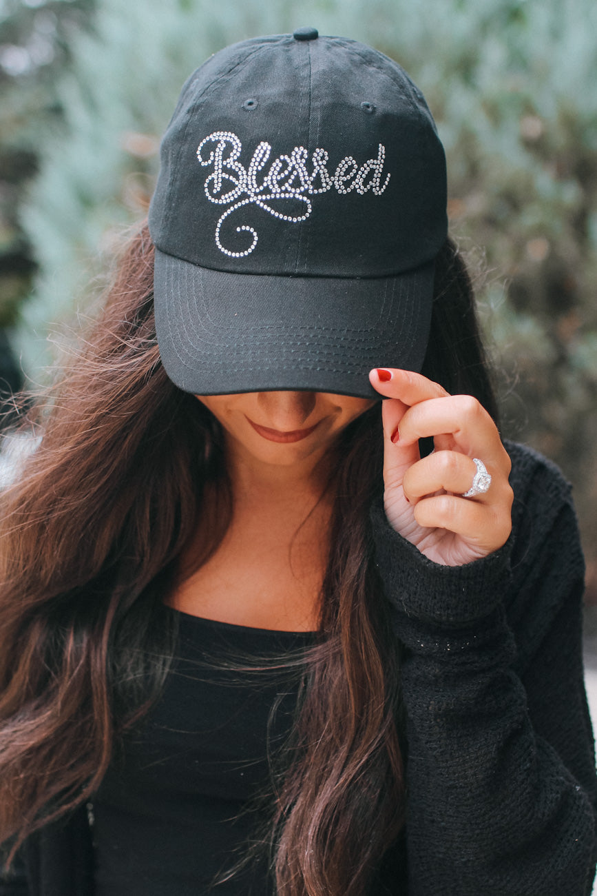 Rhinestone Blessed Baseball Hat
