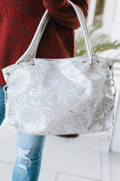Buckled Side Rhinestone Cutout Purse