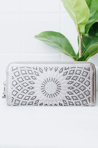 Rhinestone Flower Wallet