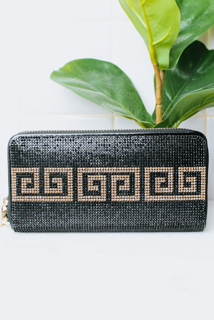 Rhinestone Design Front & Back Wallet