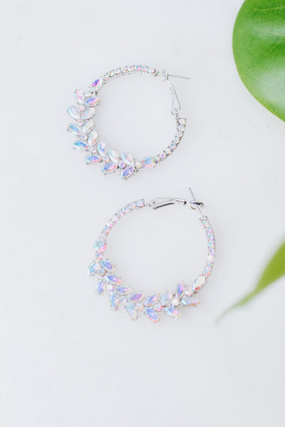 Almond Cluster Bottom Hoop Earring
