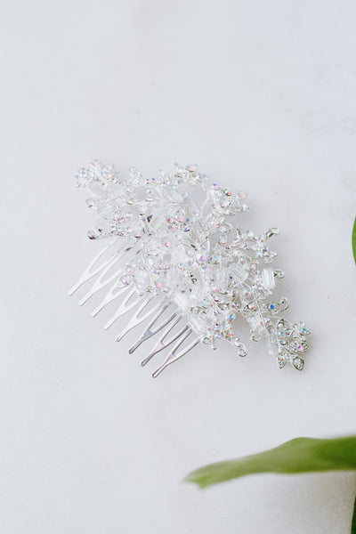 Small Flower with Crystal Bead Hair Comb