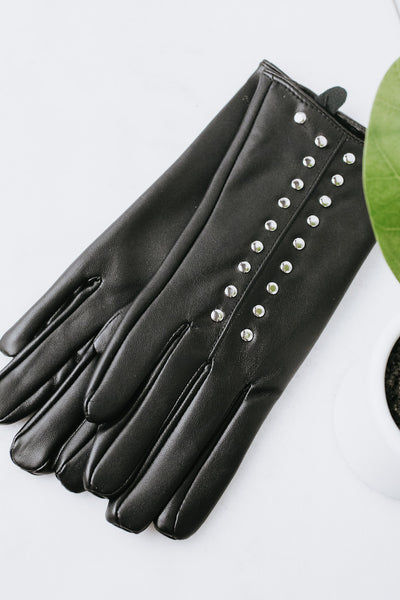 Faux Leather Studded Glove