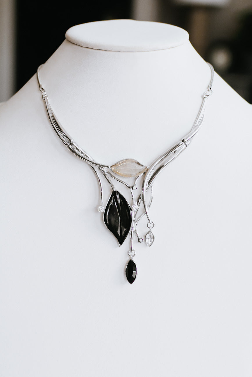 Almond Leaf & Metal Branch Necklace