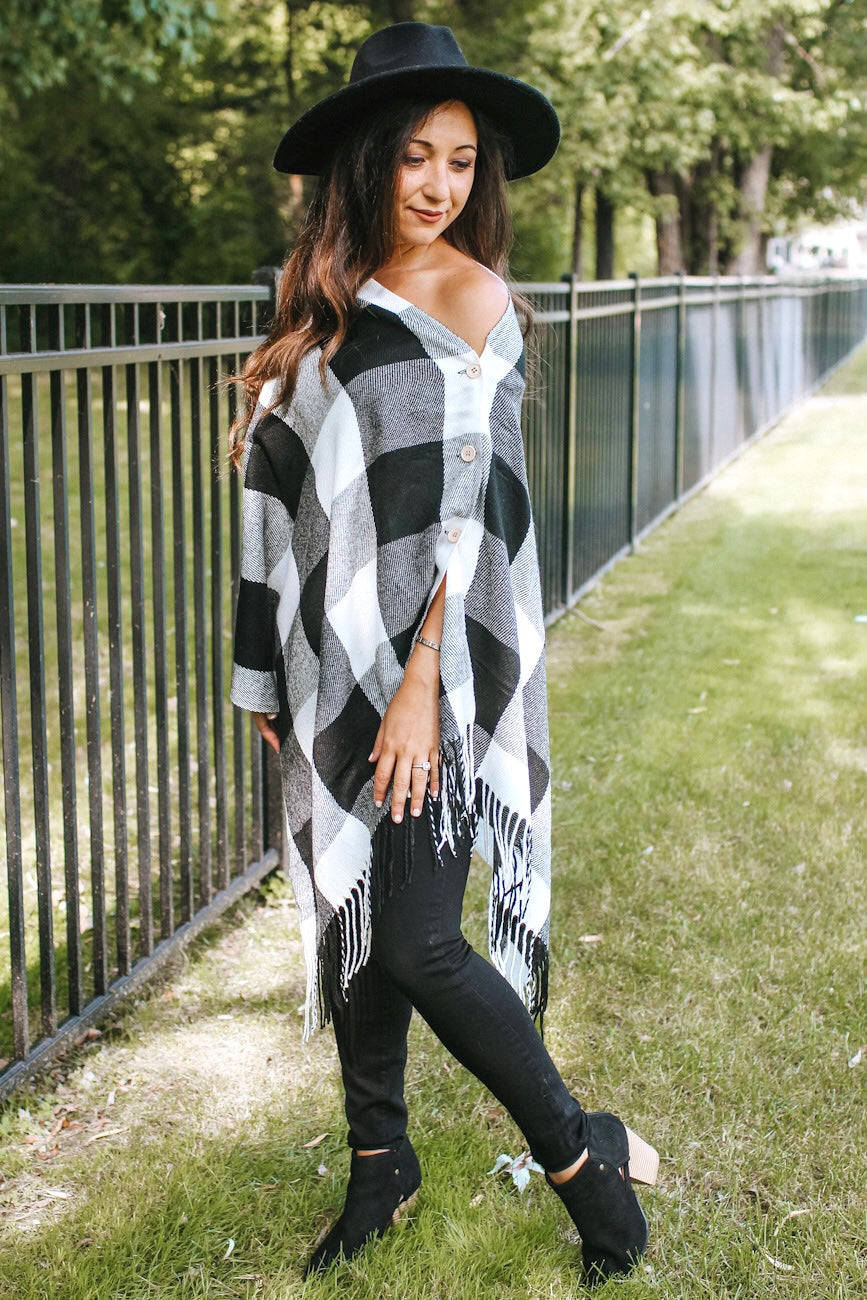 Checker Poncho with Buttons & Fringe