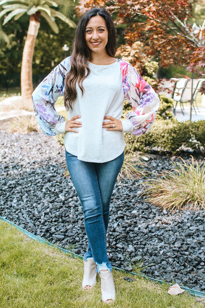 Floral Chiffon Sleeve Thermal Middle Top (Sale)