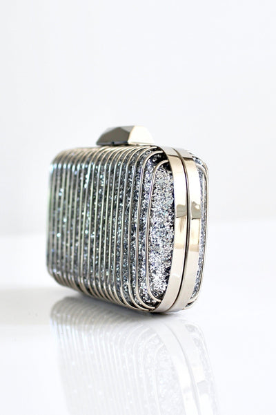 Glitter Background & Metal Lines Clutch - Glitz & Ears