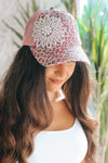 Leopard Trucker Style Hat with Flower Side