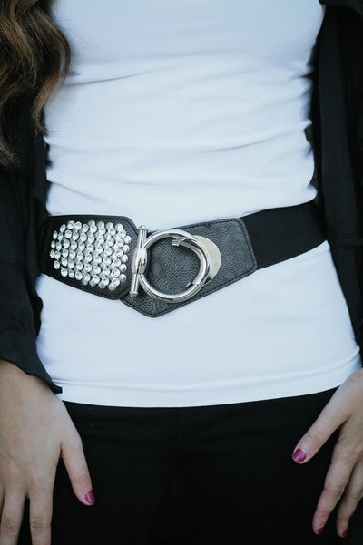 Stud & Stone Stretch Belt-Glitz & Ears Boutique