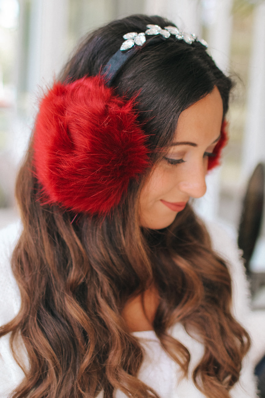 Teardrop Brooch Top Fur Earmuff