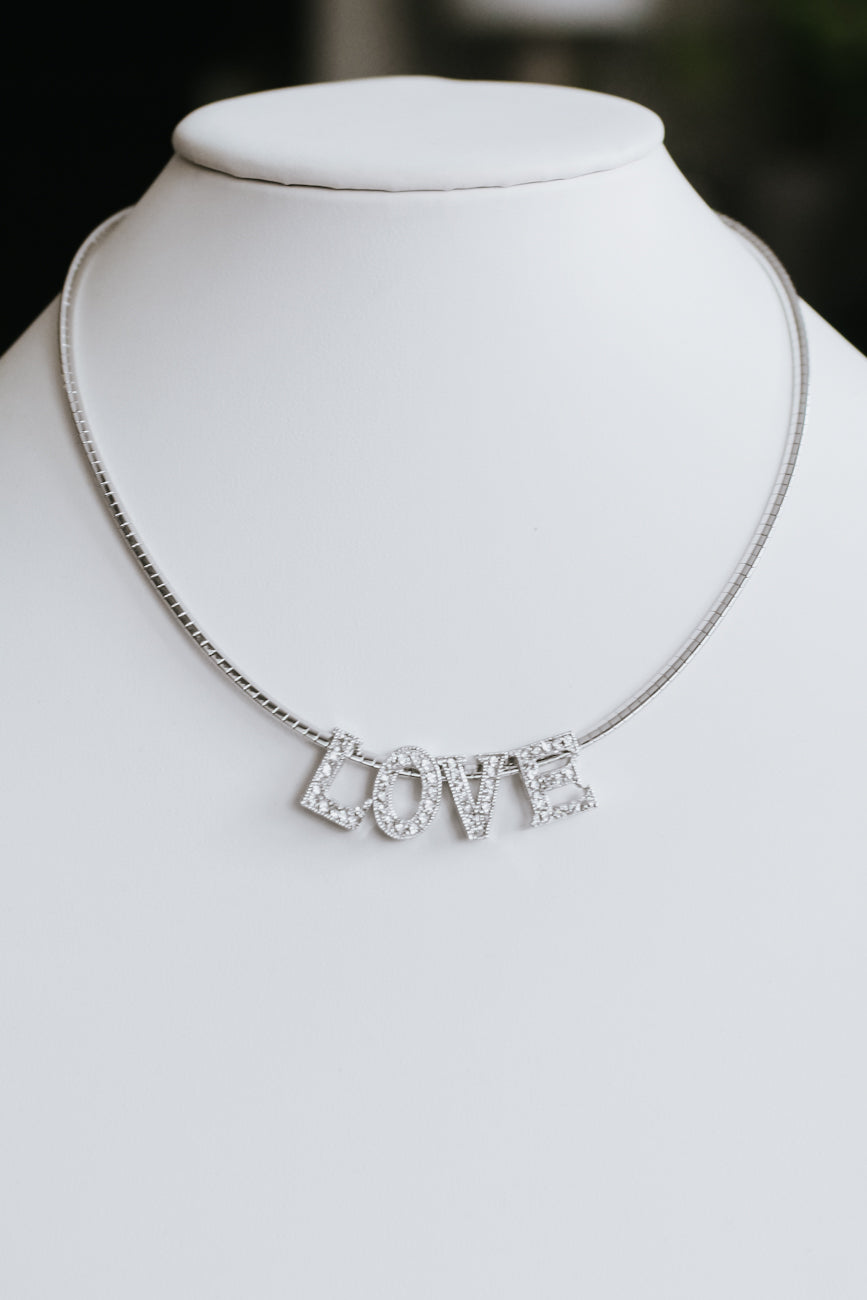 Short Chain Pave Love Necklace