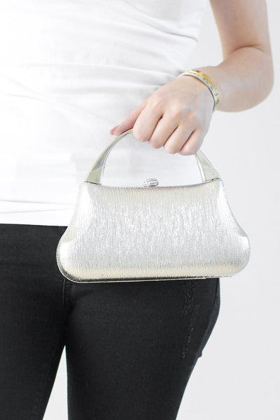 Textured Metallic Leather Clutch