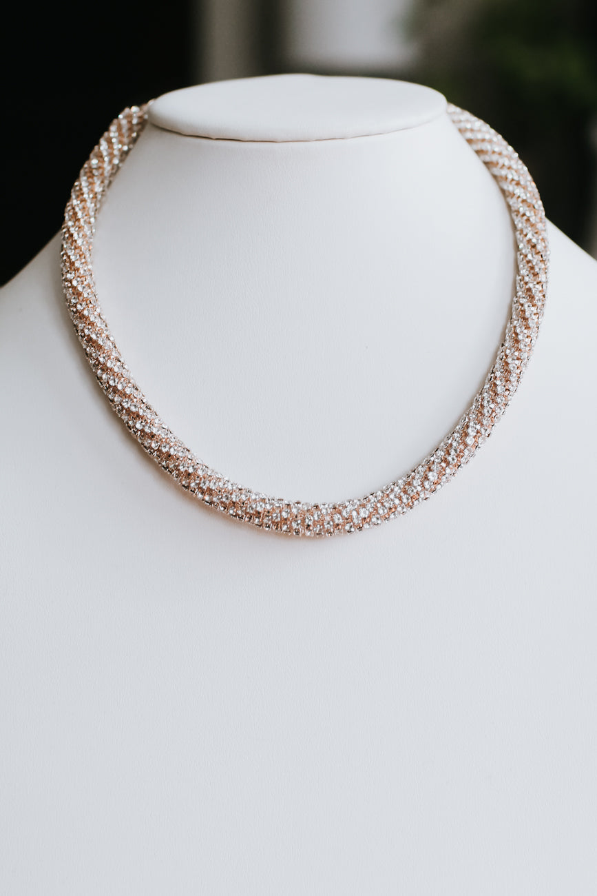Rhinestone Coil Scoop Necklace