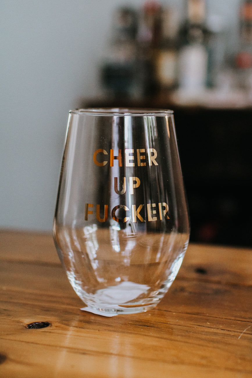 Cheer Up F*cker Wine Glass