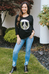 Sequin Peace Sign Rolled Sleeve Top