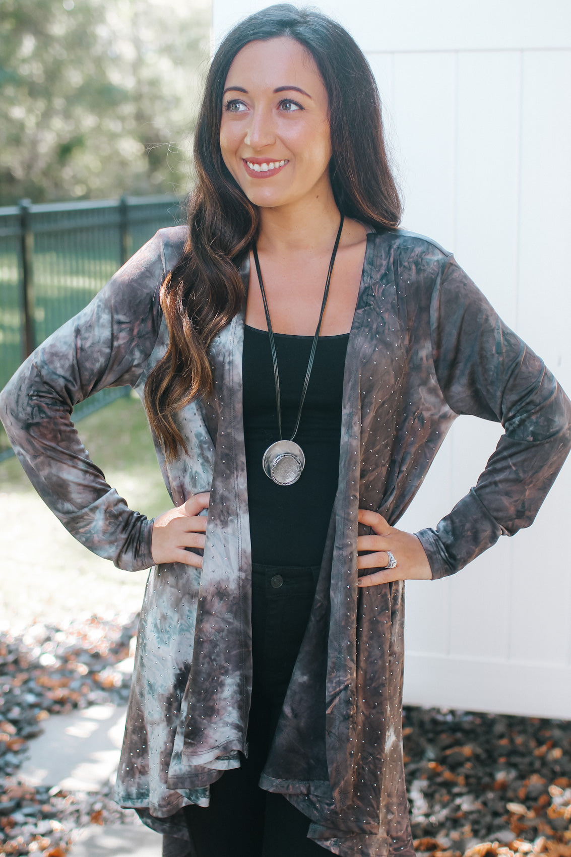 Tie-Dye & Leopard with Sequin Pocket Top