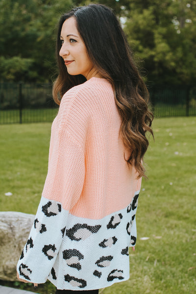 Cable Knit Leopard Bottom Sweater