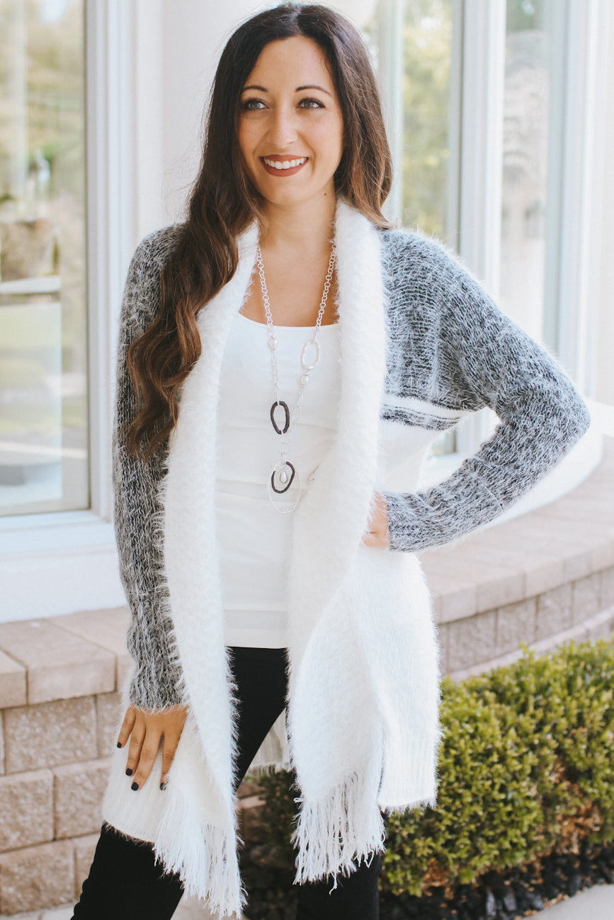 Two Tone Fuzzy Cardigan with Fringe Edge
