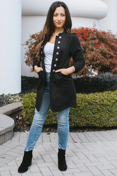 Rolled Sleeve Button Sides Jacket