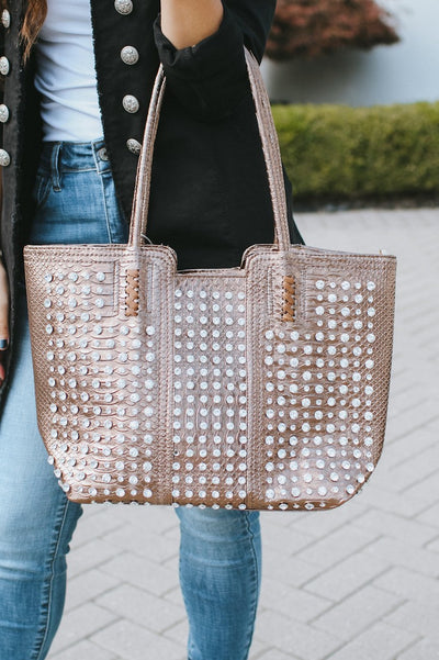 All Rhinestone Alligator Print Tote