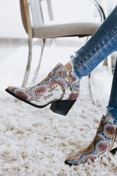 Multi-Color Snake Print Booties