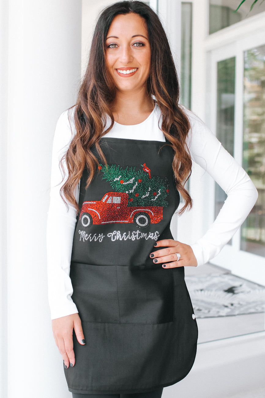 Merry Christmas Car & Tree Apron