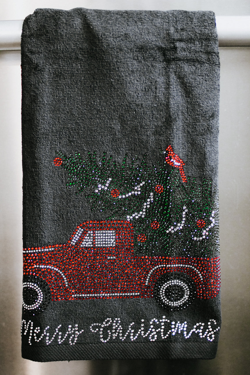 Merry Christmas Car & Tree Towel