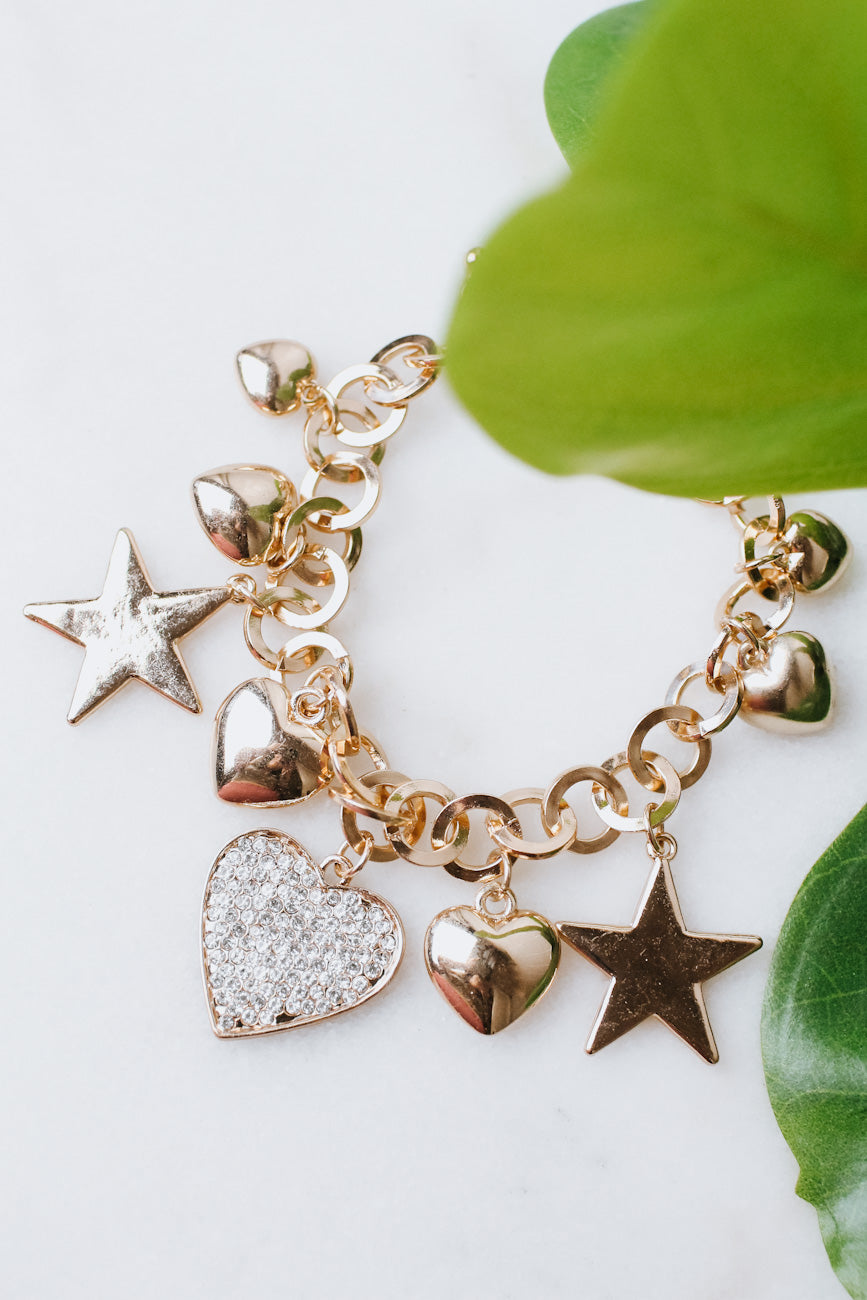 Thick Heart & Star Charm Bracelet