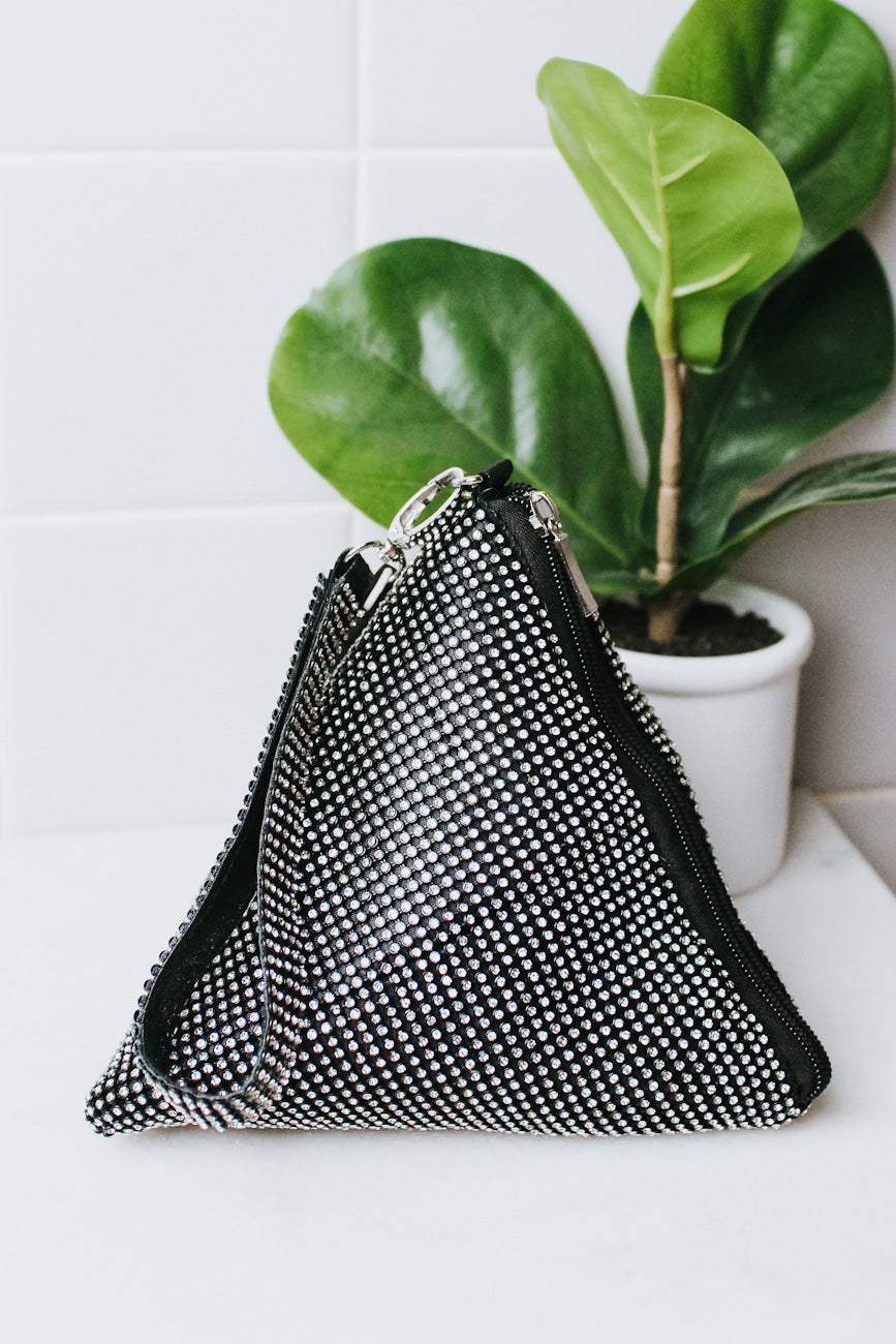 Mesh Rhinestone Triangle Clutch