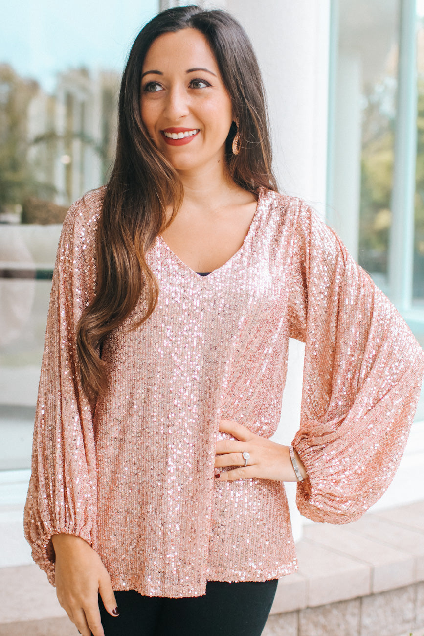 Sequin Balloon Sleeve V-Neck Blouse