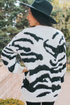 Fuzzy Tiger Print Long Sweater