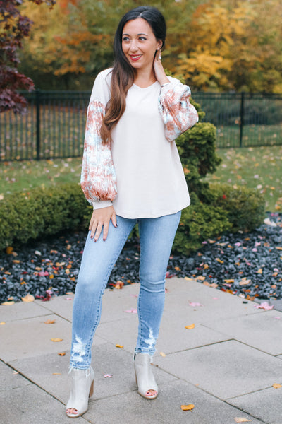 Thermal Tie Dye Sequin Sleeve Top