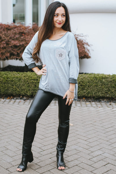Suede Graphic Top with Star Pocket