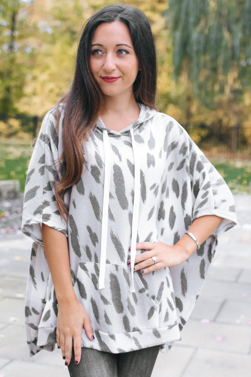Leopard Print Poncho with Hood