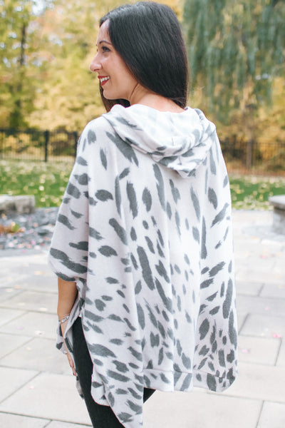 Leopard Print Poncho with Hood (Sale)
