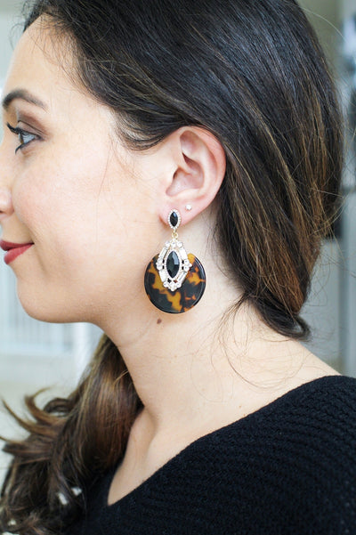 Tortoise with Almond Stone Earring-Glitz & Ears Boutique