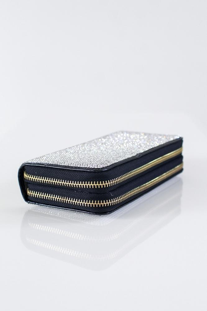 Double Zipper Rhinestone Front & Back Wallet - Glitz & Ears